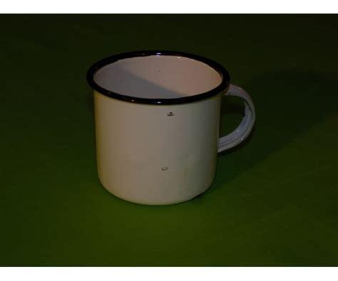 Mug Enamel Putih Pinggiran Stainless 12 Cm enamel mug 8cm 280ml white