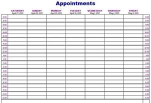 appointment sheet template appointments schedule template free layout format