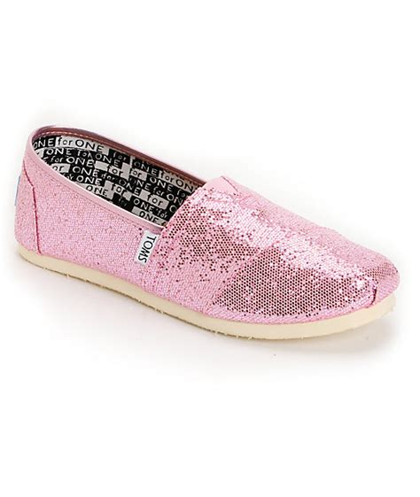 toms classic pink glitter canvas slip on shoe at