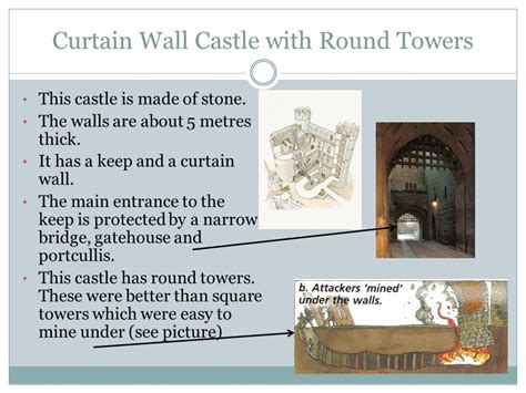 the curtain wall castle with round towers the development of castles ppt video online download