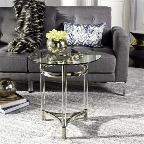 shop safavieh dermot silver clear glass top end table at sfv2519a safavieh