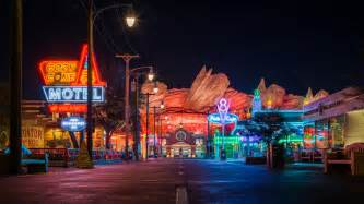 route 66 neon cars land is my favorite addition to