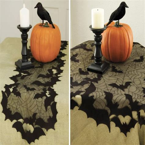 batty and bench going batty halloween table runner or table topper