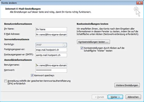 step  step  mail configuration  outlook