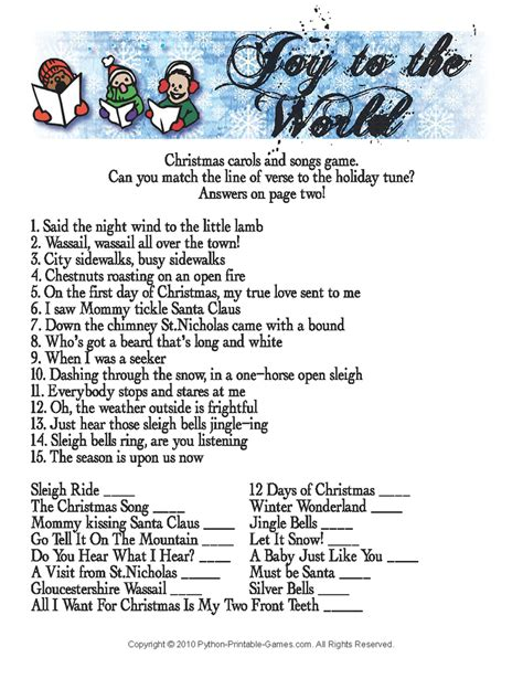 printable christmas games and quizzes 7 best images of printable christmas song trivia