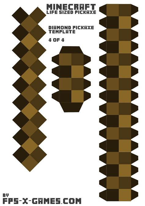 Papercraft Weapons Templates - minecraft sized pickaxe printable papercraft