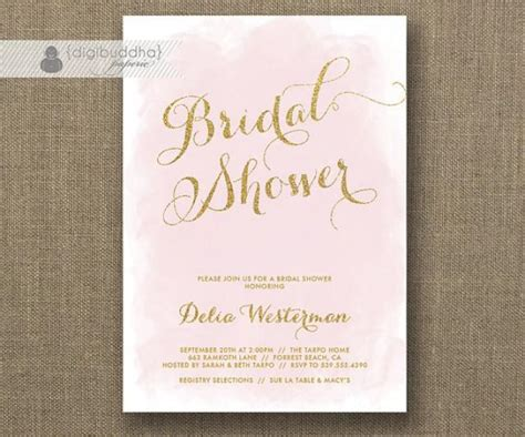 diy pink and gold wedding invitations blush pink gold glitter bridal shower invitation