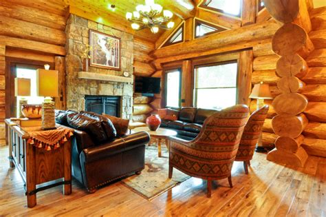 Cedar Living Room by Western Cedar Ranch Style Log Home Rustic Living