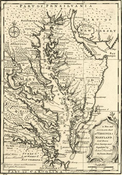 maryland map colony virginia and maryland colonies 1752 bowen historic map reprint
