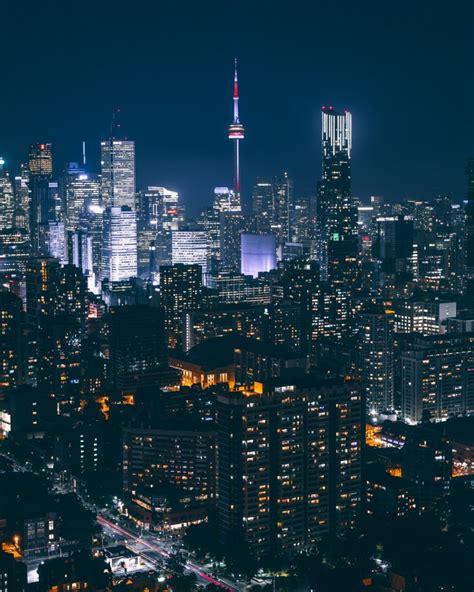 wallpaper skyscrapers urban buildings night lights