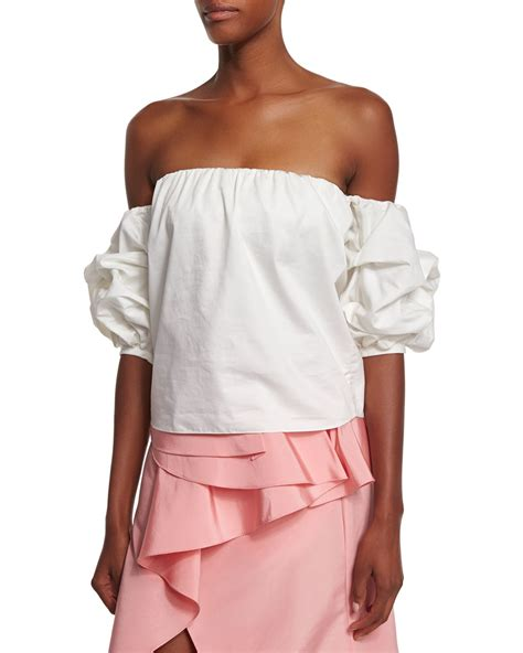 Shoulder Sleeve Top johanna ortiz the shoulder puff sleeve top in white lyst