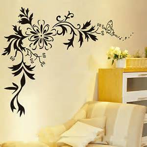 Black Wall Art Stickers Butterfly Vine Diy Black Flower Wall Sticker Art Decal