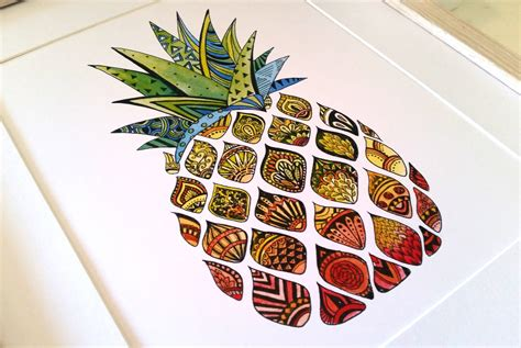fruit zentangle zentangle pineapple watercolour print home decor modern wall