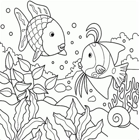 tropical fish in the ocean free printable coloring pages