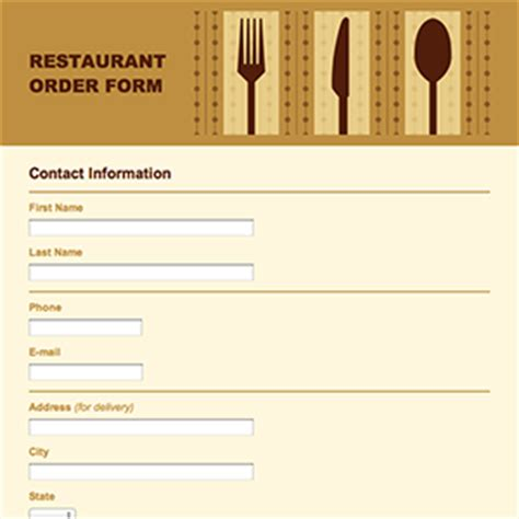 food order template formcentral template exchange
