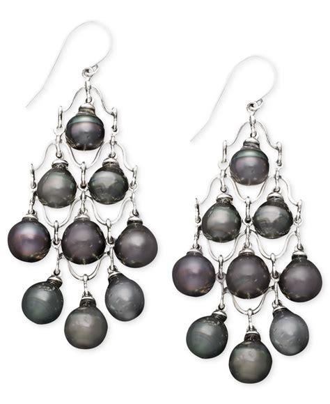 macy s pearl earrings sterling silver cultured tahitian