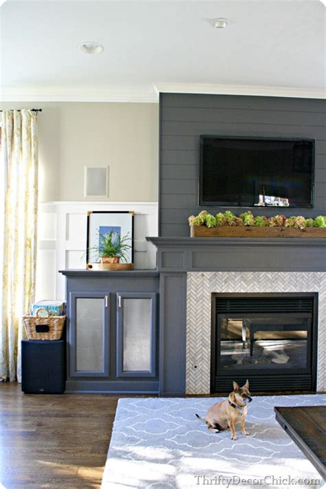Stacked Stone Fireplace Ideas 13 planked wall finished fireplace from thrifty decor