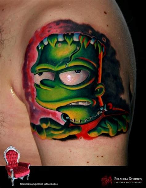 shoulder fantasy frankenstein simpson tattoo by piranha