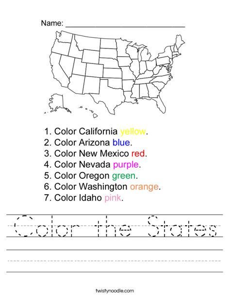 states and capitals worksheets color the states worksheet twisty noodle