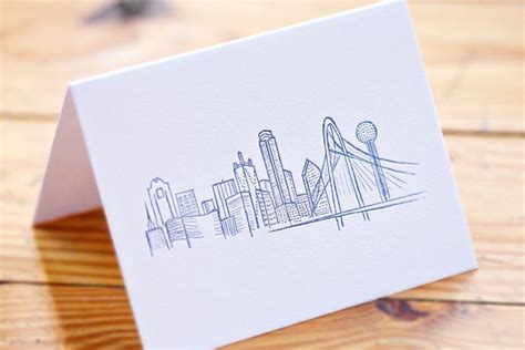 dallas skyline tattoo cards and prints in dallas gift ideas for events
