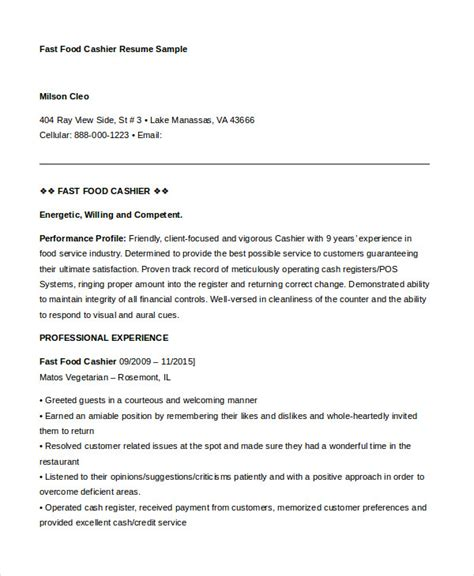 Fast Free Resume Template by 6 Cashier Resume Templates Pdf Doc Free Premium