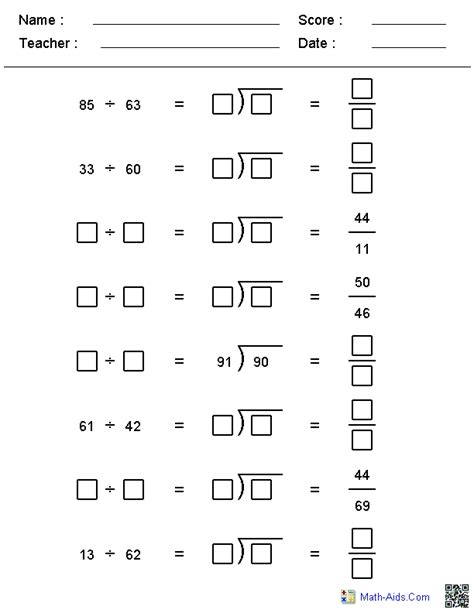 Printable Division Worksheets
