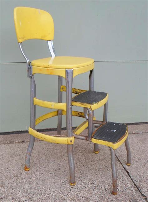 Retro Step Stool Chair by Vintage Cosco Chair Step Stool Yellow Mid Century