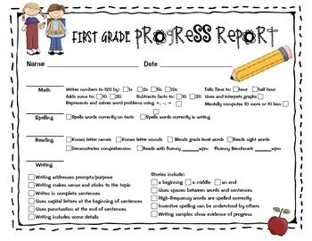 progress report for first grade by sailing through 1st