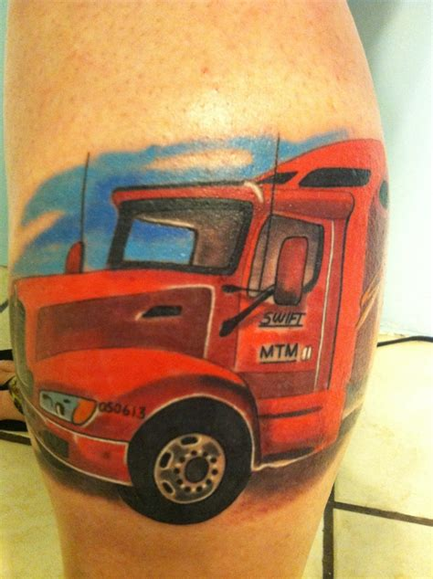 truck driver tattoos tribute to my husband who recently he was a