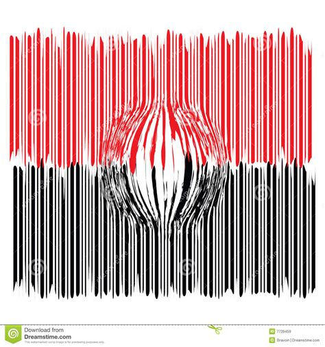 magnified black  red bar code stock illustration
