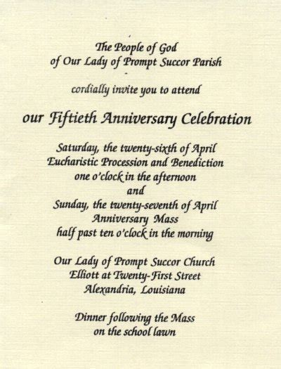 Church Anniversary Invitation Wording Samples