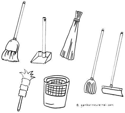 Sapu Lidi Hello mewarnai gambar alat kebersihan gambar mewarnai