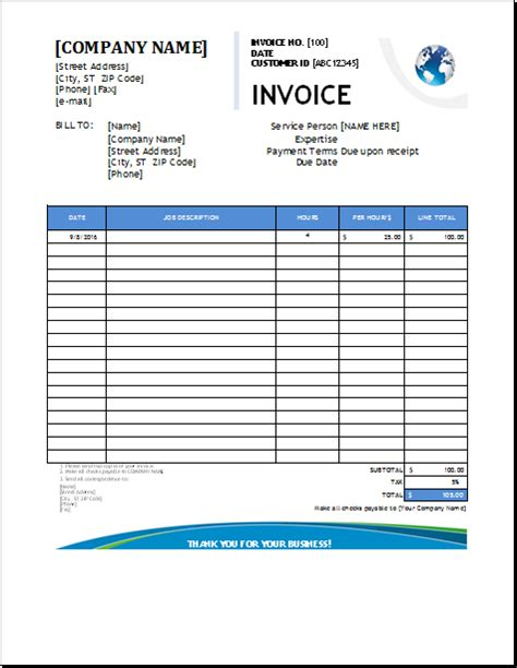 plumbing services invoice template excel invoice templates