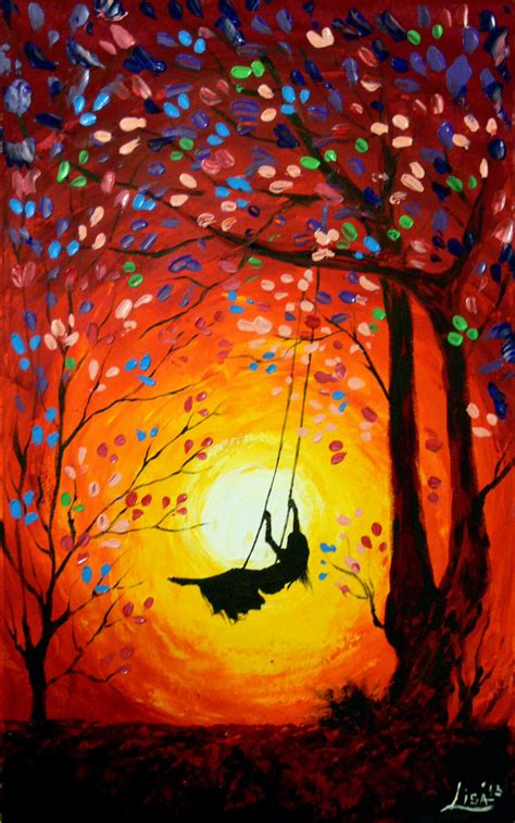 modern abstract tree swing art   item