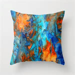 orange and teal pillow cover orange and blue home by