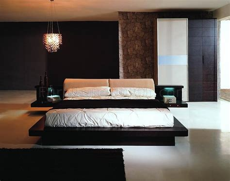 dark wenge color finish contemporary bedroom set