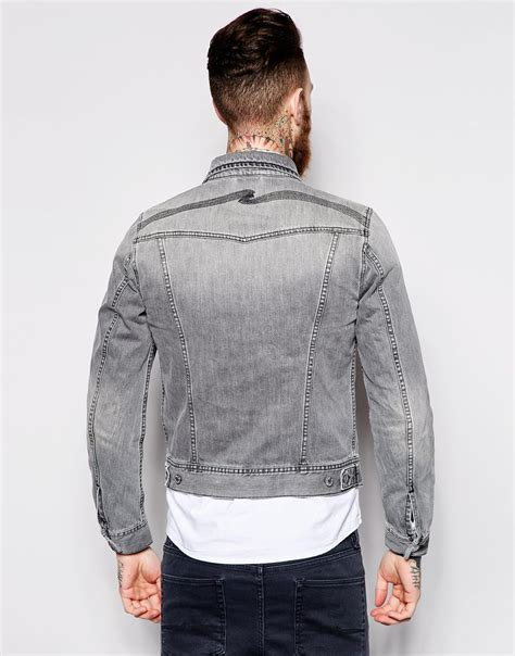 Bird Embro Denim Jacket nudie nudie denim jacket conny washed fog gray back embro in gray for lyst