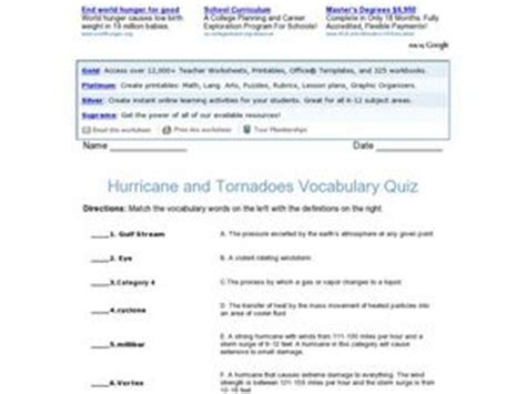 printable tornado quiz hurricane and tornadoes vocabulary 4th 5th grade