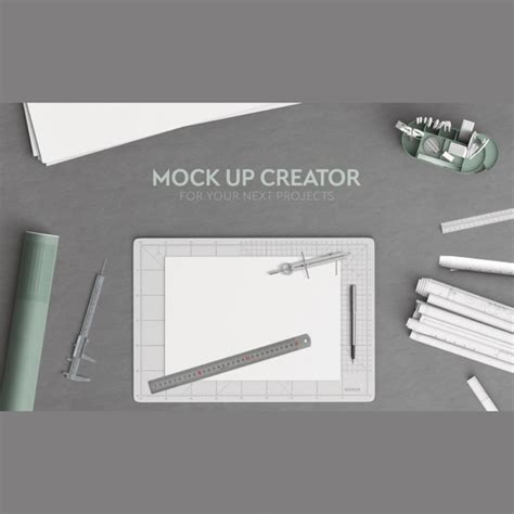 office desk top view architecture office desktop in top view psd file free
