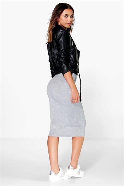 boohoo womens basic jersey midi skirt ebay