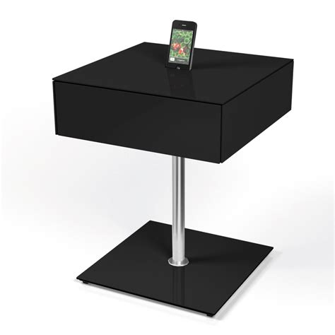 Black Gloss Side Table Spectral Cockpit Cp20 Gloss Black Side Table W Smartphone Dock And Drawer Spectral