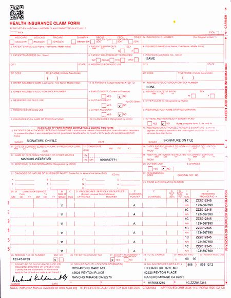 Free Cms 1500 Claim Form Template Free Template Design Free Cms 1500 Claim Form Template