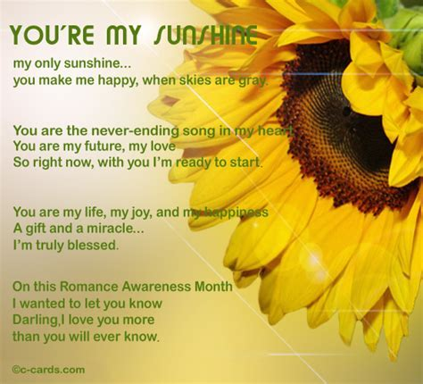 You Are My Sunshine. Free Romance Awareness Month eCards