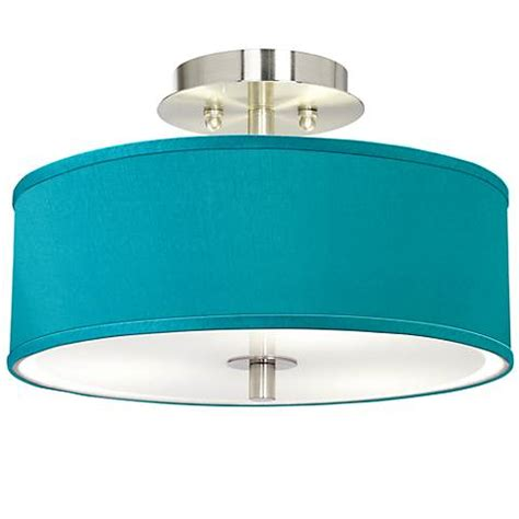 Teal Blue Faux Silk 14 Quot Wide Brushed Steel Ceiling Light Teal Ceiling Light