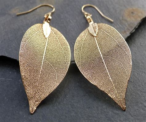 Golden Leaf Earring by Real Leaf Earrings 18k Gold Leaf Earrings Dipped Leaves