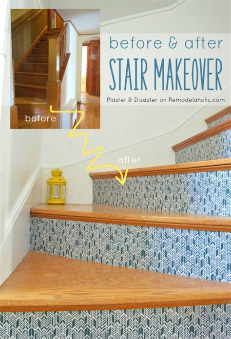 Banister Remodel Remodelaholic Colorful Stairwell Makeover With Fabric