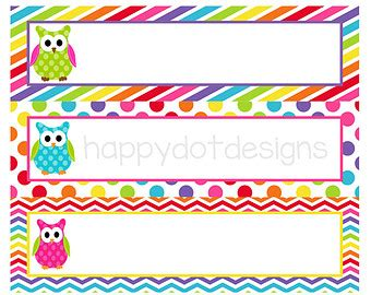printable owl name tags printable rainbow owl desk name plates name cards for