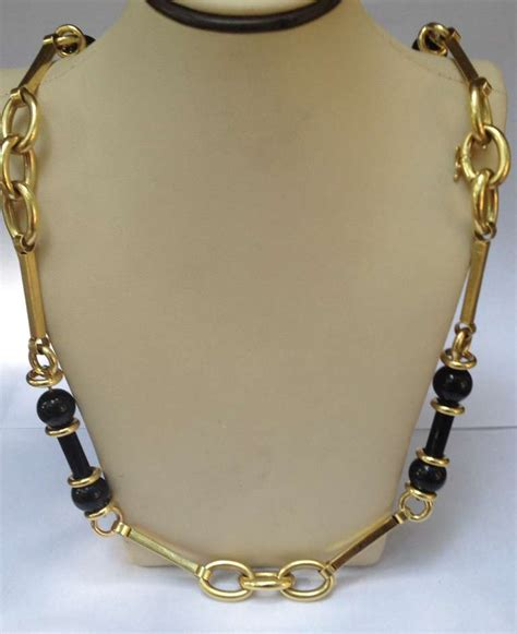 Onyx W Chain Link Necklace by Barrel Cut Onyx And Gold Link Adjustable Length Chain