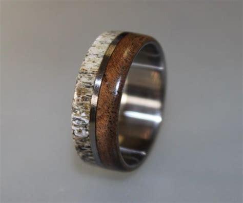 Titanium Ring, Deer Antler Ring, Antler Ring, Mens