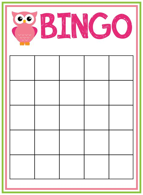 baby bingo card templates free printable owl baby shower invitations other